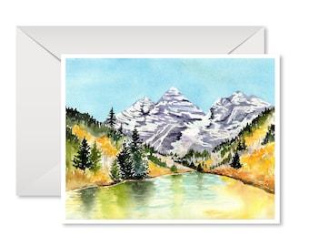 Mountain Landscape Cards, Colorado, Maroon Bells, All Occasion, Colorado Artist
