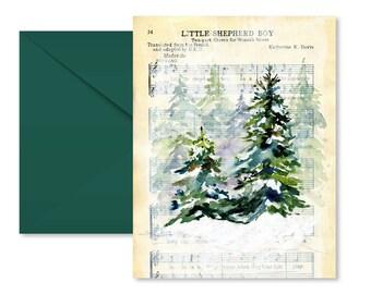 Christmas Card, Sheet Music, Evergreens, Mixed Media, Blank Inside