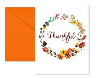 Thanksgiving Card, Thankful, Watercolor, Calligraphy, Blank Inside