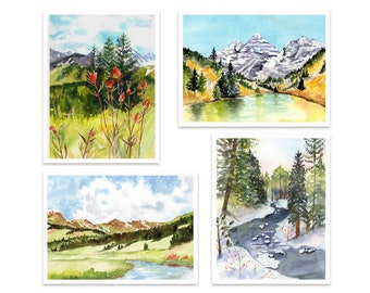 NEW!! Landscape Card Assortment #2, Colorado Art, Mountains, watercolor, All occasion, Boxed Set
