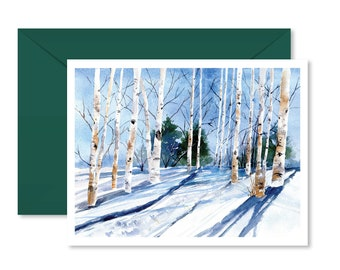 Holiday Card, Christmas card, Winter, Watercolor, Aspen trees, Blank inside