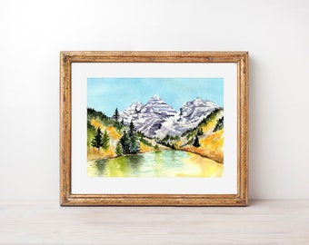 Maroon Bells, Autumn Landscape, Rocky Mountains, Reflections, Watercolor print