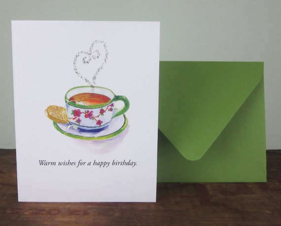 Cup Of Tea Birthday Card Tea Lovers Watercolor Greeting Card Etsy