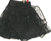 Child 39 s Black Crinoline Slip - Double Layer - Nylon - 24 quot waist