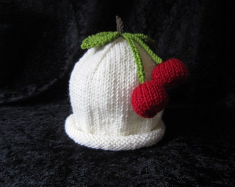Hand Knitted Cashmere and Wool Cherry Fruit Baby Hat 6-12 months