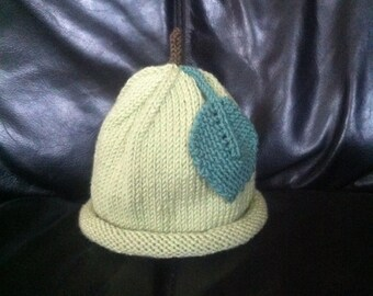 Hand Knitted Cashmere and Wool Green Apple with Leaf Baby Hat 3-6 months