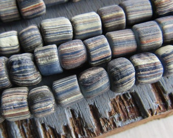22 inch strd indonesia New Indo-pacific 3 to 6mm grey beige matte small ethnic barrel tube spacer striped glass seed bead 7ab64-5