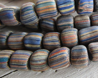 striped glass seed bead,  multicolored matte small ethnic barrel tube spacer, indonesia New Indo-pacific 7 to 9mm (40 beads ) 7ab66-5