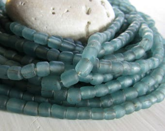 small matte blue green bead,  transparent glass bead, irregular barrel tube spacer, New Indo-pacific 3 to 6 mm / 22 inche strand - 7ab29-31
