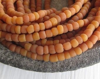 orange brown glass seed bead, matte  barrel tube, small rustic ethnic spacer , indonesian 3 to 6mm, new indo-pacific (22 inches)7ab29-8