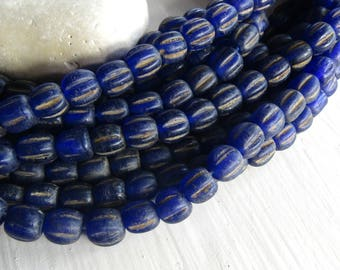 blue round lampwork glass beads, matte opaque wavy melon dirty , rustic aged look , indonesian  9  to  11mm  (12 pcs ) 7ab9-5