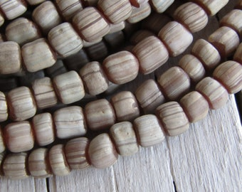 indonesian glass seed beads, rosy pink brown white small spacer beads, barrel tube, New Indo-pacific  3 to 6mm (22 inches ) 7ab4-2