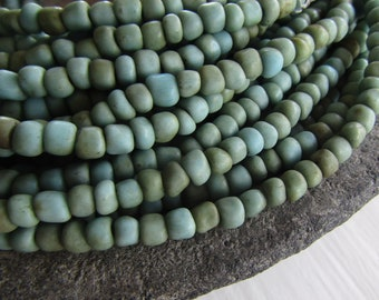 Small blue grey glass seed beads, rustic aged , freeform barrel tube spacer, Indonesia 3mm to 5mm dia (44 inch strand) 8ab6-3