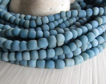 blue  glass seed bead, matte opaque  barrel tube, small  ethnic spacer, indonesian 3 to 6mm, new indo-pacific (22 inches)7ab29-20