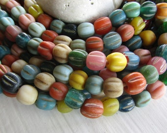 mix no3 round lampwork glass beads, wavy melon opaque and transparent tones, rustic gritty aged look, indonesian 9 to 11mm (24 pcs ) 7ab9-11