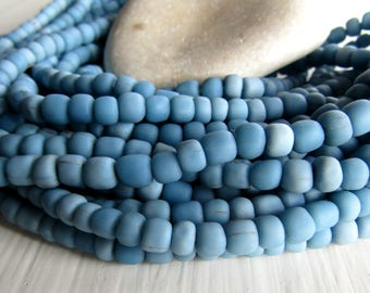 blue  glass seed bead, matte opaque  barrel tube, small  ethnic spacer, indonesian 3 to 6mm, new indo-pacific (22 inches)7ab29-21