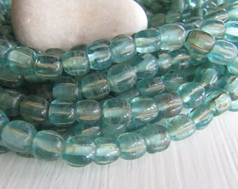 turquoise melon glass lampwork beads,  blue  translucent melon wavy rustic  aged look , indonesian  -  9 to 10mm  ( 12 beads) 7ab49-5