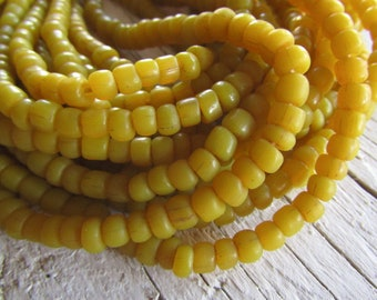 Small yellow glass beads matte yellow seed beads organic irregular barrel tube , New  Indo-pacific  - 3 to 6 mm (22 in strand  ) 5A4-19