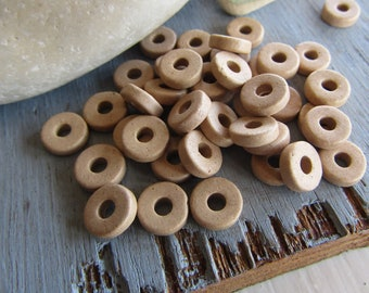 50 Ceramic beads, small rondelle, beige sand tone , Matte opaque, Spacer discs washer 8mm x 2mm (50 beads)  8ASR3-1041
