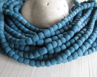 blue teal glass seed bead, matte opaque  barrel tube, small  ethnic spacer, indonesian 3 to 6mm, new indo-pacific (22 inches)7ab29-17