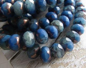 rondelle czech glass  beads, faceted  , matte mix tone blue  , bronze edges  6mm x 9mm (10 beads)  7ACB3