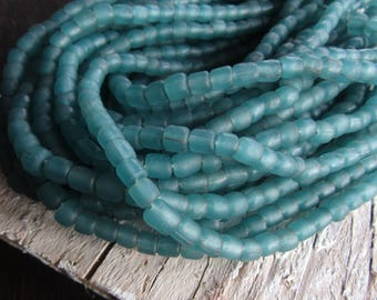 green glass seed bead, transparent matte  barrel tube, small  ethnic spacer, indonesian 3 to 6mm, new indo-pacific (22 inches)7ab29-24