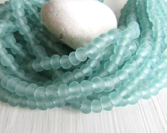 light Aquamarine Recycled glass beads , rondelle sea green tone  , blue green tone , matte frosted irregular  ( 20 beads ) 7ak7-1