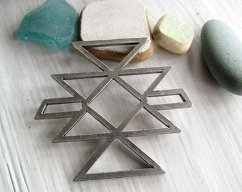 Antiqued silver Pendant, connector link, Native inspired motif geometric,  antiqued silver finish/ pewter tone 48 x 52mm (1 pc)7cs6187