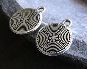 silver labyrinth pendant  , orante Round coin , Antiqued Silver plated accent drop, metal casting 2mm hole made in usa (2 pcs ) 8aT-2326-12