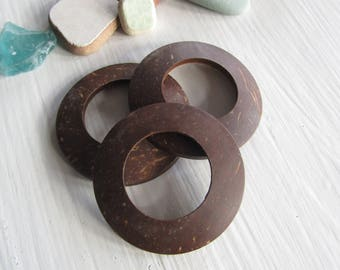 large Coconut Ring , brown coco donut link , flat round connector ,  exotic natural craft supplies  44 - 45mm ( 4 pcs )7ab80