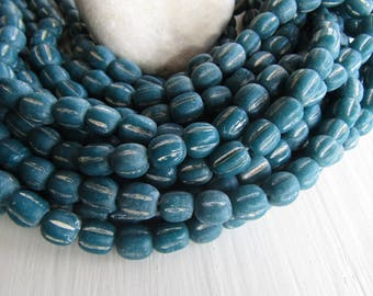 teal blue lampwork glass beads,  wavy round melon , rustic aged distressed look , indonesia  9 to 11mm  (12 beads ) 7ab49-7