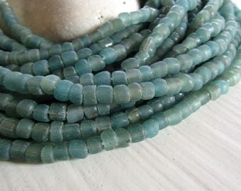small matte green seed  bead,  transparent glass bead, irregular barrel tube spacer, New Indo-pacific 3 to 6 mm / 22 inche strand - 7ab29-34
