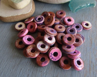 50 rondelle ceramic beads, multi tone pink purple and brown, distressed ripped paint effect, rustic 8mm x 2mm, 2.5mm hole (50 beads) 7asr3-3