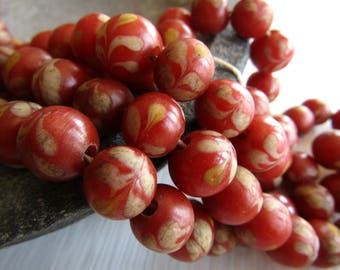 red round lampwork glass beads, matte glass bead, ethnic pattern bead, rustic aged gritty look, Indonesian 11mm to 12mm (8 beads)  6bb7-3