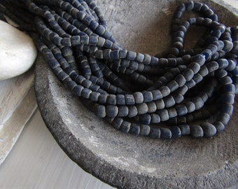 indonesian blue seed bead, matte gritty rustic ethnic, Irregular spacer barrel tube, New Indo-pacific  4 to 6mm (22 in strand) 7ab65-10