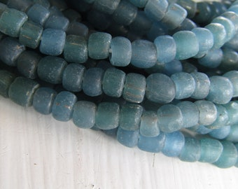 small matte blue green glass seed  bead, semi transparent  irregular barrel tube spacer, New Indo-pacific 3 to 6mm / 22 inch strand 7ab29-36