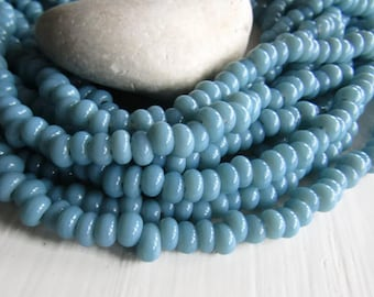 blue lampwork rondelle Glass beads, small opaque glossy  blue grey, disc washer Spacer Indonesian 6.5mm to 8mm dia (10 inches ) 7ab28-13