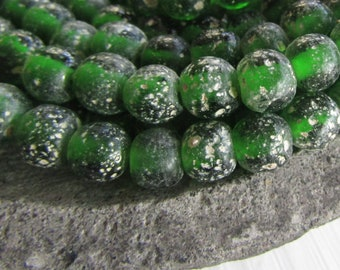 Round green lampwork glass beads, rustic green translucent, gritty textured aged look,  indonesian 8mm - 9mm (16 beads)  6bb27-8