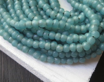 Small round green  blue  lampwork glass beads, rustic opaque semi matte, irregular roundish spacer Indonesian 3 to 5mm / 20 in strand 6A2-17