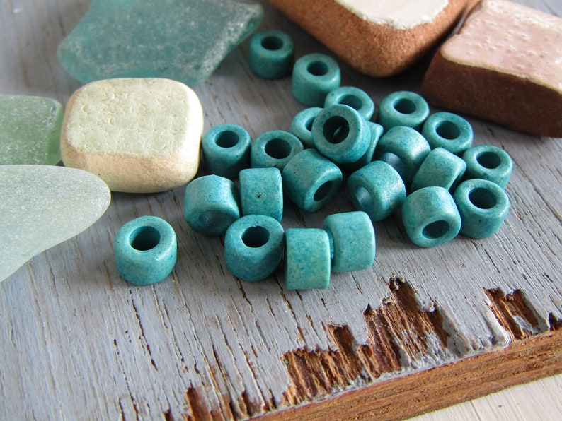 turquoise Ceramic rondelle beads OASRM-1057 matte opaque with  2.5mm hole 6mm x 4mm small blue spacer discs washers 50 beads