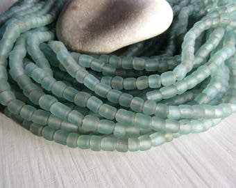 green glass seed bead,matte aquamarine tone barrel tube, small ethnic spacer, indonesian 3 to 6mm, new indo-pacific (22 inches)7ab29-25