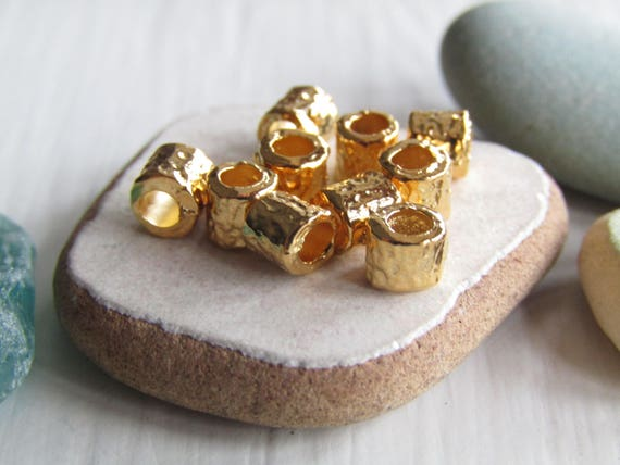 Gold mini tube beads, tiny small textured metal casting spacer , gold  plated 3 5 x 4mm , 2mm hole (choose qty ) 7as2694g