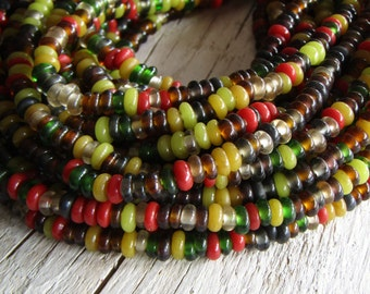 Rondelle lampwork glass beads, small spacer discs, multicolored mix, indonesian  5mm to 7mm dia (22 inch strand ) 20bb21-1
