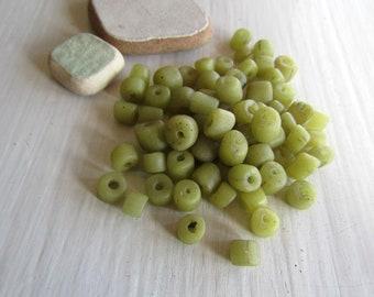 small muted green glass seed  bead, opaque matte irregular barrel tube spacer, New Indo-pacific 3 to 6mm ( 25 grams ) 7ab29-40
