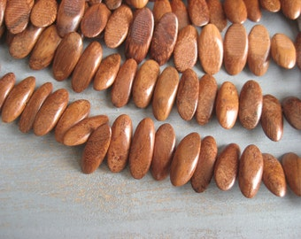 Bayong wood beads stick slidecut  wood beads from philippines - 8 x 21mm  / half strand 26 pcs - 3aph44