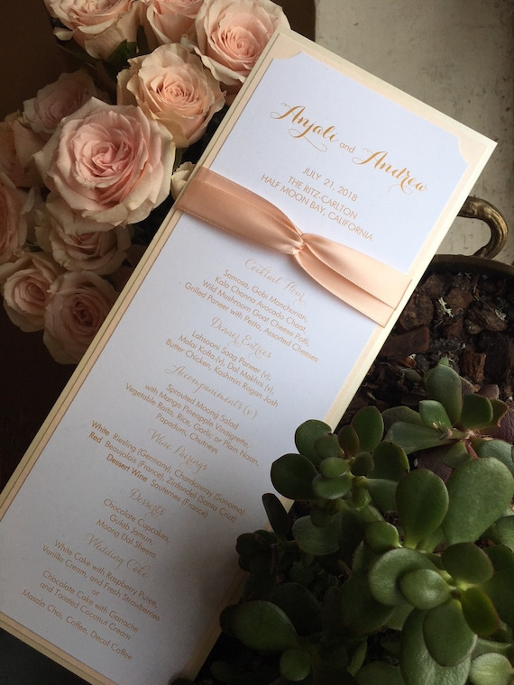 Wedding Menu, Wine List, Cake, Events, Send Off, After Party in Custom  Colors, Fonts - Ribbon and Foil Optional - Bistro Collection SAMPLE