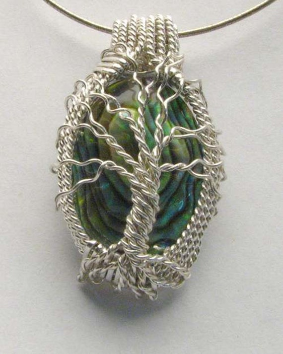 Handmade Solid Sterling Silver Wire Wrap Abalone Shell Pendant