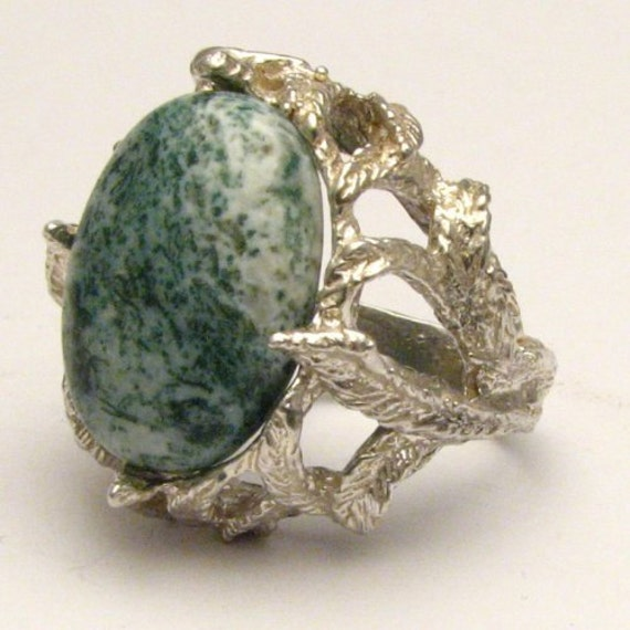 Handmade Solid Sterling Silver Green Tree Agate Cabochon Ring