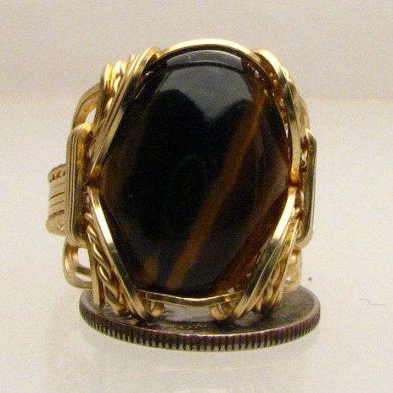 Handmade Artisan 14kt Gold Filled Wire Wrapped Tiger Eye Agate Gemstone Ring