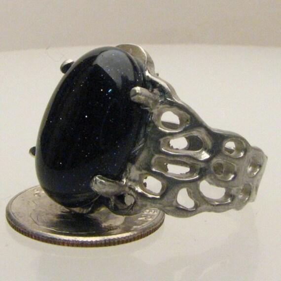 Handmade Sterling Silver Goldstone Lava Ring